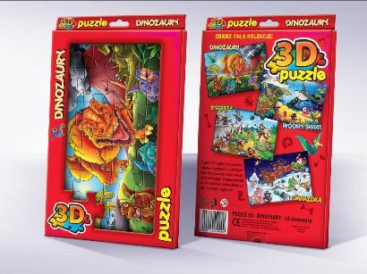Trójwymiarowe Puzzle dla dzieci Dinozaury 3D